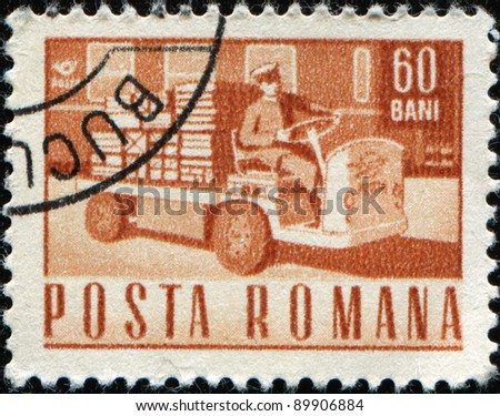 ROMANIA - CIRCA 1968:A stamp printed in Romania shows Electric parcels truck, circa 1968