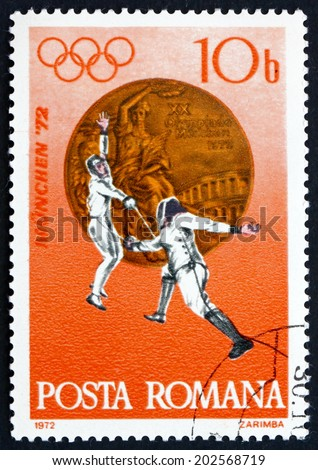 ROMANIA - CIRCA 1972: a stamp printed in Romania shows Fencing, Bronze Medal at 20th Olympic Games, Munich, circa 1972