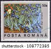 ROMANIA - CIRCA 1990: A stamp printed in Romania shows Field of Irises by Vincent Van Gogh, circa 1990 - stock photo