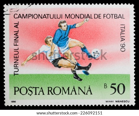 "ROMANIA - CIRCA 1990: A stamp printed in Romania, shows football players, series ""World Cup Soccer Championships in Italy, 1990"", circa 1990 - stock photo"