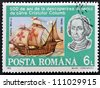 ROMANIA - CIRCA 1992: A stamp printed in Romania shows image celebrating the 500th anniversary of the landing of Christopher Columbus in the America, circa 1992 - stock photo