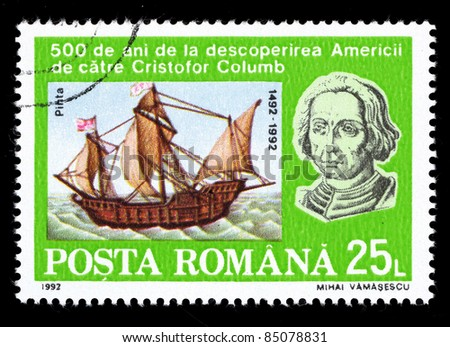 ROMANIA - CIRCA 1992: A stamp printed in Romania shows image of a ship, circa 1992