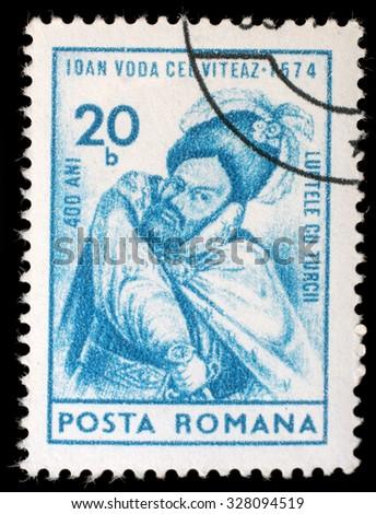 ROMANIA - CIRCA 1974: a stamp printed in Romania shows Ioan, Prince of Wallachia, circa 1974. - stock photo