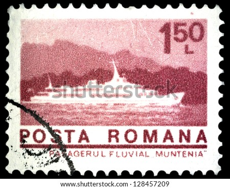 """ROMANIA - CIRCA 1974: A stamp printed in Romania shows Passenger ship """"Muntenia"""", with the same inscription, from the series """"Ships"""", circa 1974 - stock photo"""