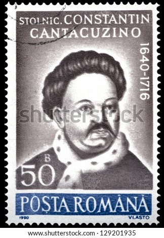 "ROMANIA - CIRCA 1990: A stamp printed in Romania, shows portrait of Constantin Cantacuzino, 1640 - 1716, (chronicler), with the same inscription, from the series ""Anniversaries"", circa 1990"