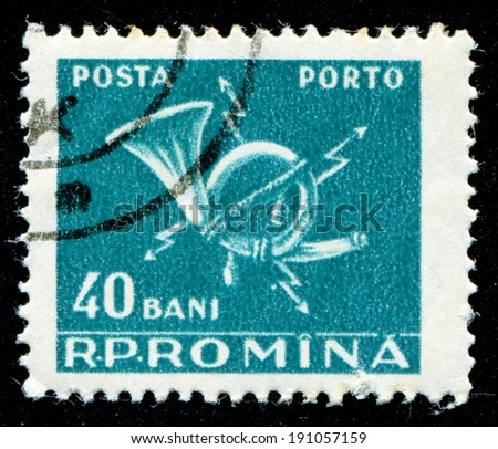 ROMANIA - CIRCA 1967: A stamp printed in Romania shows Post Horn, circa 1967