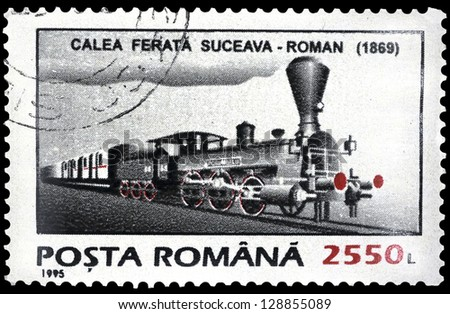 "ROMANIA - CIRCA 1995: A stamp printed in Romania shows Steam train, 1869, with the same inscription, from the series ""Means of Transport"", circa 199"