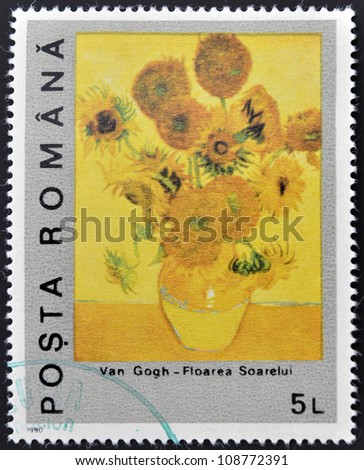 ROMANIA - CIRCA 1990: A stamp printed in Romania shows sunflower by Vincent Van Gogh, circa 1990 - stock photo