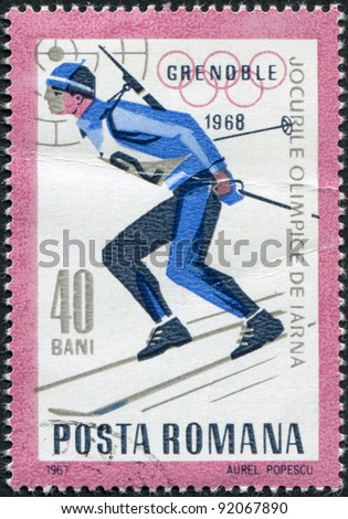 ROMANIA - CIRCA 1967: A stamp printed in the Romania, dedicated to the Winter Olympics in Grenoble, is shown biathlete, circa 1967