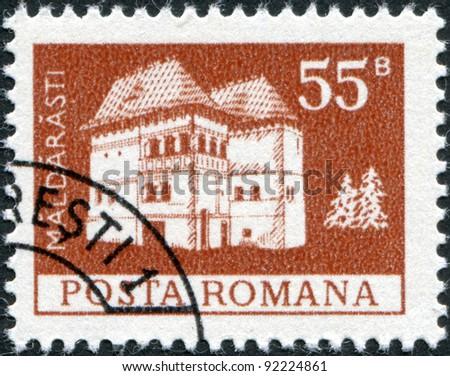 ROMANIA - CIRCA 1973: A stamp printed in the Romania, depicts Maldaresti Fortress, circa 1973 - stock photo