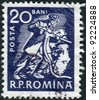 ROMANIA - CIRCA 1960: A stamp printed in the Romania, depicts Miner with drill, circa 1960 - stock photo