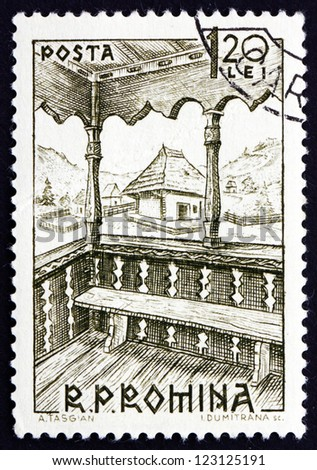 ROMANIA - CIRCA 1963: a stamp printed in the Romania shows Bacau, 19th Century, Peasant House from Village Museum, Bucharest, circa 1963 - stock photo