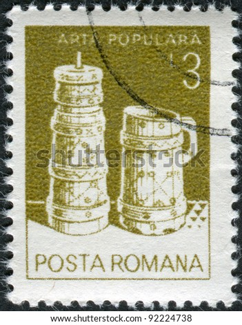 ROMANIA - CIRCA 1982: A stamp printed in the Romania, shows Butter churn, wooden bucket, from Moldavia, circa 1982 - stock photo