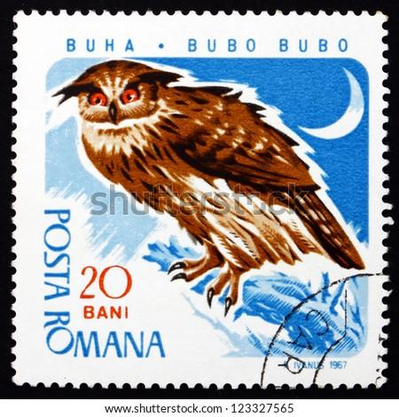 ROMANIA - CIRCA 1967: a stamp printed in the Romania shows Eagle Owl, Bubo Bubo, Bird of Prey, circa 1967 - stock photo