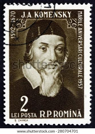 ROMANIA - CIRCA 1958: a stamp printed in the Romania shows Jan Amos Komensky, Czech Philosopher, Pedagogue and Theologist, circa 1958 - stock photo