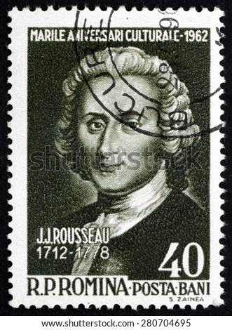 ROMANIA - CIRCA 1962: a stamp printed in the Romania shows Jean Jacques Rousseau, Genevan Philosopher, Writer and Composer, circa 1962