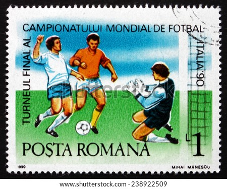 ROMANIA - CIRCA 1990: a stamp printed in the Romania shows Soccer Players in Action, World Cup Soccer Championships, Italy 90, circa 1990 - stock photo