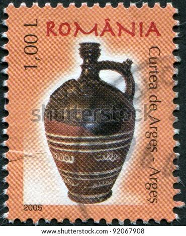 ROMANIA - CIRCA 2005: A stamp printed in the Romania, shows the Curtea de Arges, Arges, circa 2005 - stock photo