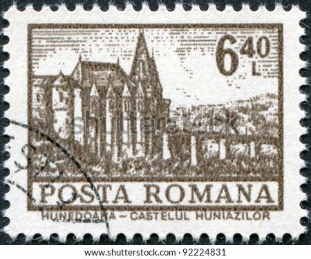 ROMANIA - CIRCA 1972: A stamp printed in the Romania, shows the Hunedoara Castle, circa 1972 - stock photo