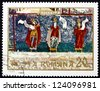 ROMANIA - CIRCA 1969: a stamp printed in the Romania shows Three Prophets, Fresco from Sucevita Monastery, North Moldavia, Wall Painting, circa 1969 - stock photo