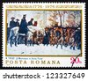 ROMANIA - CIRCA 1976: a stamp printed in the Romania shows Washington at Walley Forge, Painting by William B .T. Trego, American Bicentennial, circa 1976 - stock photo