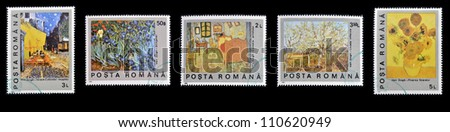 ROMANIA - CIRCA 1990: Collection stamps printed in Romania shows different paintings of Vincent Van Gogh, circa 1990 - stock photo
