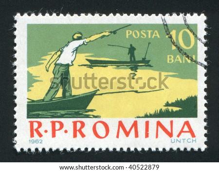 ROMANIA - CIRCA 1962: Fishing on the river. Various Fishing Scenes, circa 1962. - stock photo