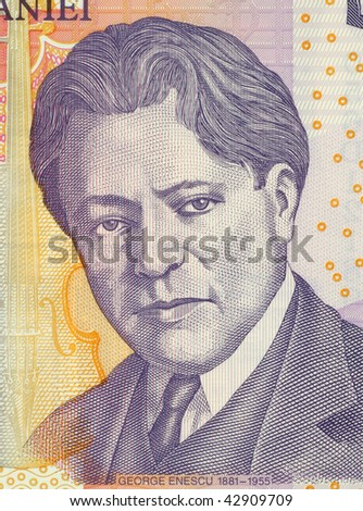 ROMANIA - CIRCA 2005: George Enescu on 5 Leu 2005 Banknote from Romania. Composer, pianist, violinist, conductor and teacher.