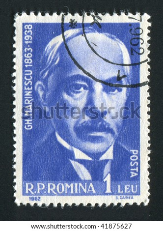 ROMANIA - CIRCA 1962: Gheorghe Marinescu was a Romanian neurologist, founder of the Romanian School of Neurology, circa 1962. - stock photo