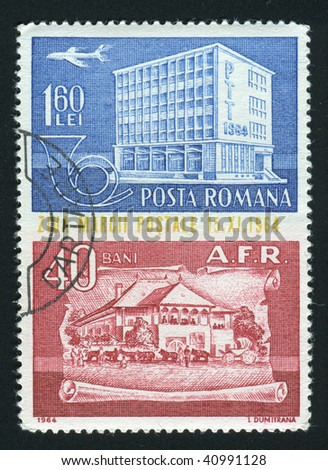 ROMANIA - CIRCA 1964: Modern and 19th Century Post Office Buildings, circa 1964.