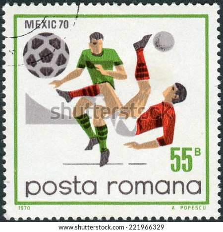 ROMANIA - CIRCA 1970: Postage stamp printed in Romania, dedicated to the FIFA World Cup in Mexico in 1970, shows the game scenes and moments, circa 1970  - stock photo