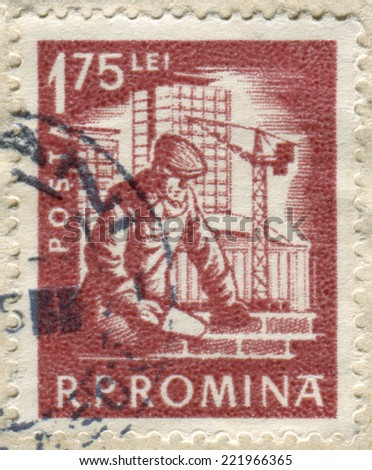 ROMANIA - CIRCA 1960: Postage stamp printed in Romania shows a Construction worker, circa 1960