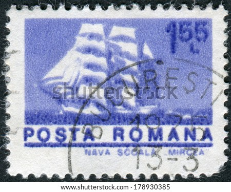 ROMANIA - CIRCA 1974: Postage stamp printed in Romania shows a three-masted barque Mircea, circa 1974