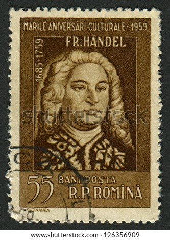 ROMANIA - CIRCA 1959: Postage stamps printed in Romania dedicated to George Frideric Handel (1685-1759),  German-born British composer, circa 1959. - stock photo