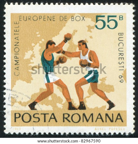 ROMANIA - CIRCA 1969: stamp printed by Romania, show  boxing, circa 1969. - stock photo