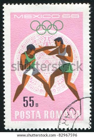 ROMANIA - CIRCA 1968: stamp printed by Romania, show boxing, circa 1968. - stock photo