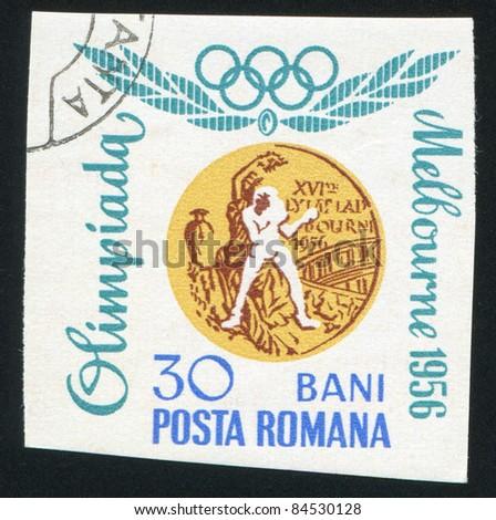 ROMANIA - CIRCA 1960: stamp printed by Romania, show boxing, circa 1960. - stock photo