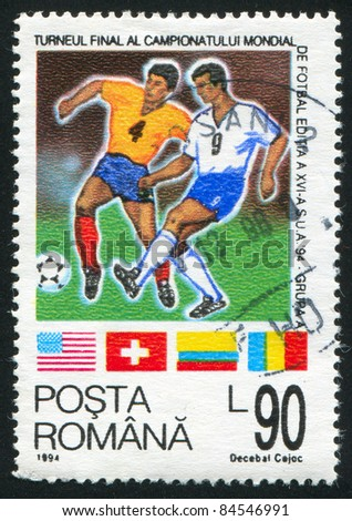 ROMANIA - CIRCA 1994: stamp printed by Romania, show football, circa 1994.