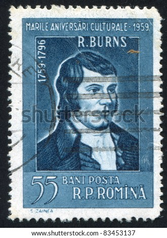 ROMANIA - CIRCA 1959: stamp printed by Romania, show Robert Burns, circa 1959.