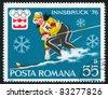 ROMANIA - CIRCA 1976: stamp printed by Romania, show slalom, circa 1976. - stock photo