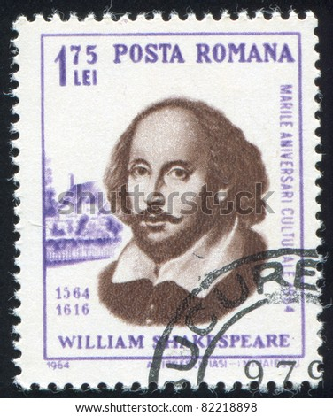 ROMANIA - CIRCA 1964: stamp printed by Romania, show William Shakespeare, circa 1964.