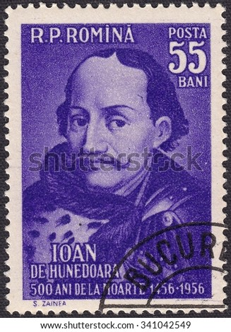 ROMANIA - CIRCA 1990: stamp printed by Romania, shows Ioan de Hunedoara -Hungarian military and political figure, Governor of Transylvania, circa 1990