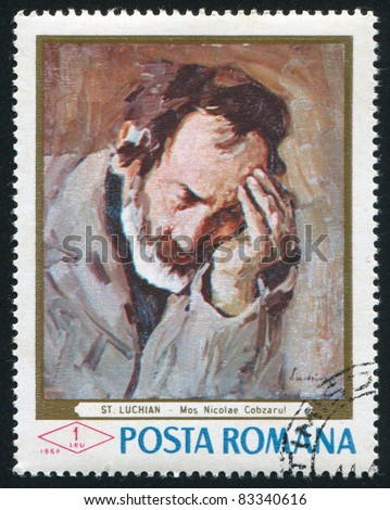 ROMANIA - CIRCA 1968: stamp printed by Romania, shows portrait of old man Nicolae, by Stefan Luchian, circa 1968