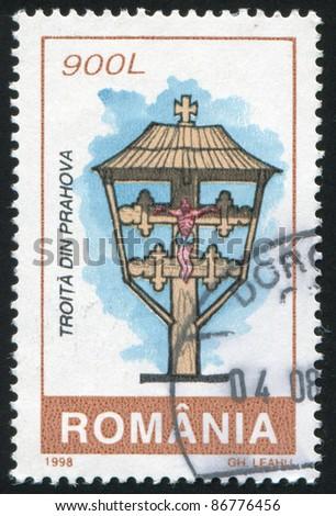 ROMANIA - CIRCA 1998: stamp printed by Romania, shows Roadside Shrines, Prahova, circa 1998 - stock photo