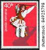 ROMANIA - CIRCA 1977: stamp printed by Romania, shows Romanian male folk dancer, circa 1977 - stock photo