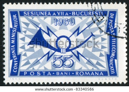 ROMANIA - CIRCA 1969: stamp printed by Romania, shows symbol fo Post and Telegraph Conference in Bucharest, circa 1969