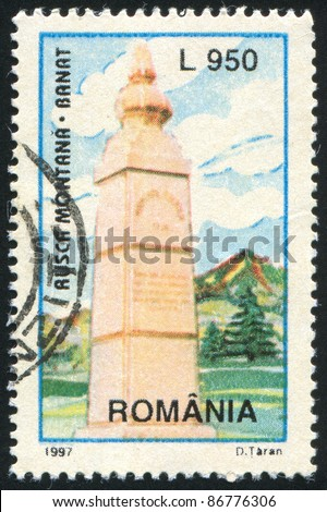 ROMANIA - CIRCA 1997: stamp printed by Romania, shows Tourism Monument, Banat, circa 1997