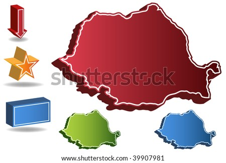 Romania country map isolated on a white background.