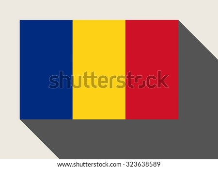Romania flag in flat web design style. - stock photo