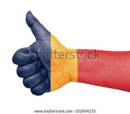 Romania flag on thumb up gesture like icon - stock photo